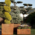 Large Steel Simplistic Garden Pot | large luxury garden planters for sale UK | steel corten