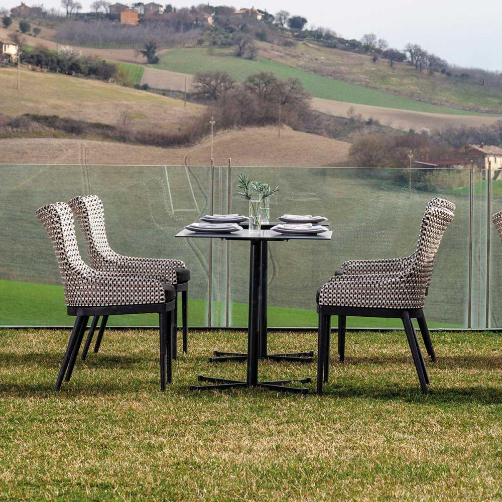 Elegant Woven Grey Dining Chair | modern Italian rattan outdoor dinner armchair | graphite grey