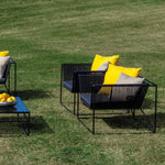 Sleek Metal Linear Garden Armchair |  sleek coloured aluminium garden armchair | olive black blue taupe yellow