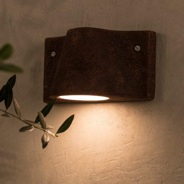 Simple Outdoor Clay Wall Sconce | Orange outdoor modern clay wall light | up and down luxury exterior wall sconce | grey black brown
