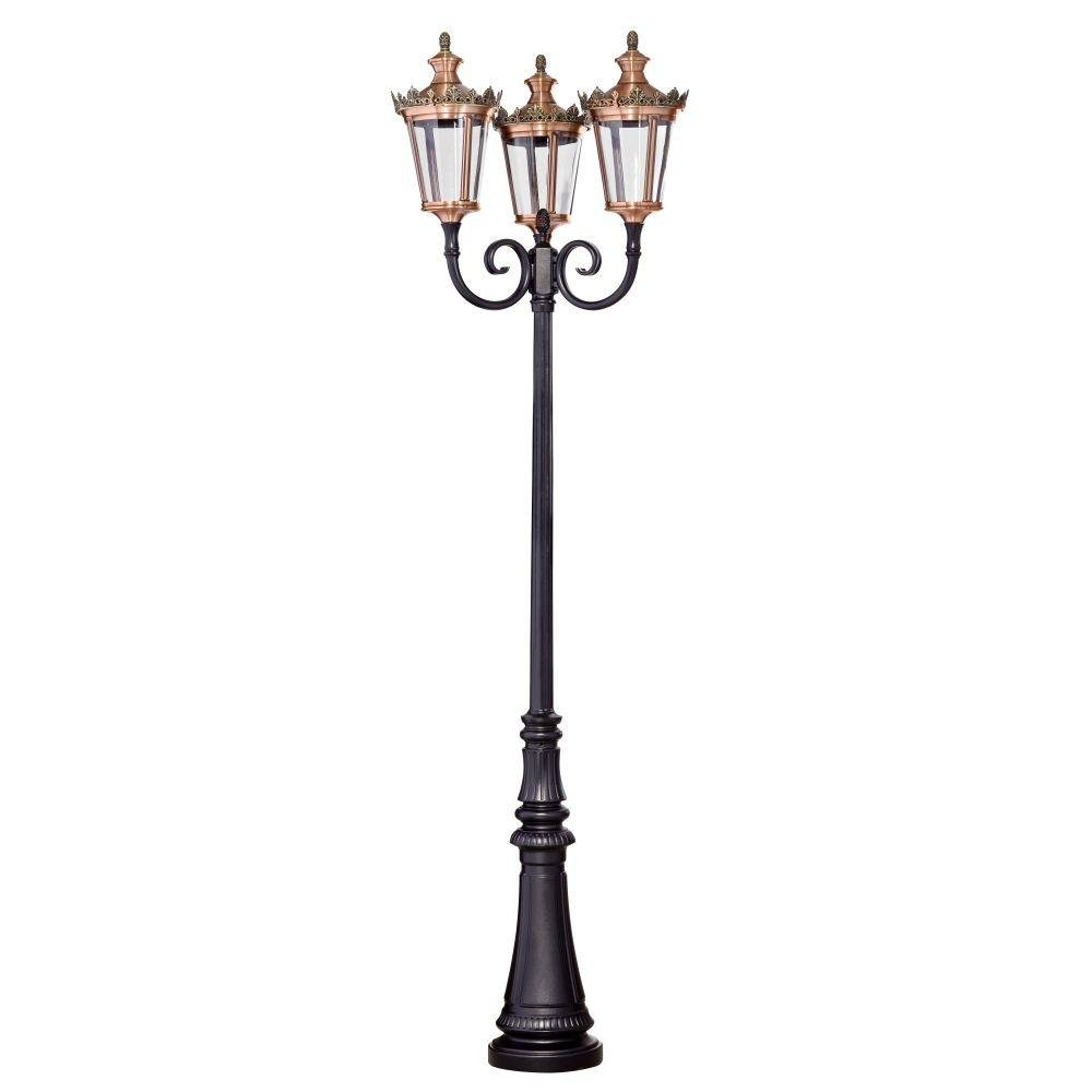 Traditional Triple Lamp Garden Floor Light | luxury three headed garden floor lamp | aluminium copper | E27 LED | black green gold