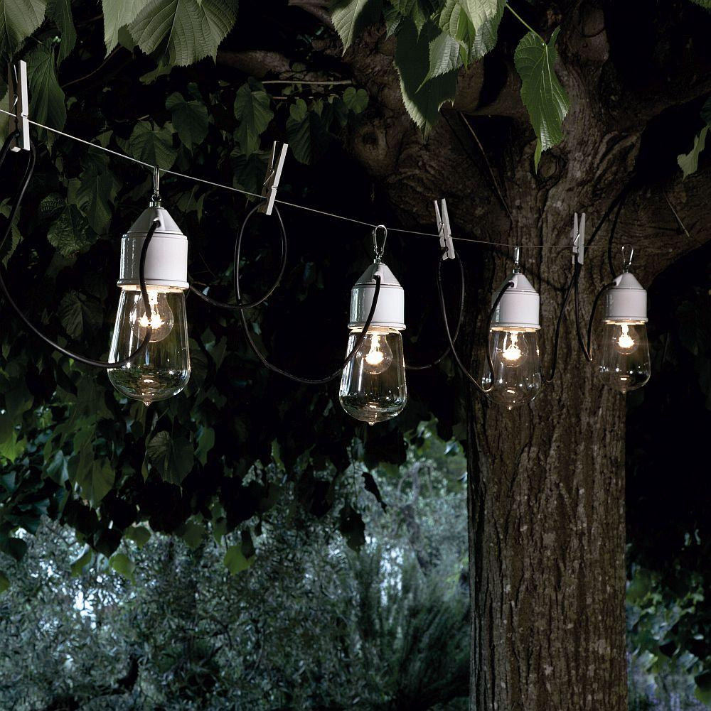 Modern Rustic Outdoor String Light | modern exterior string lights | red grey black blue | e27