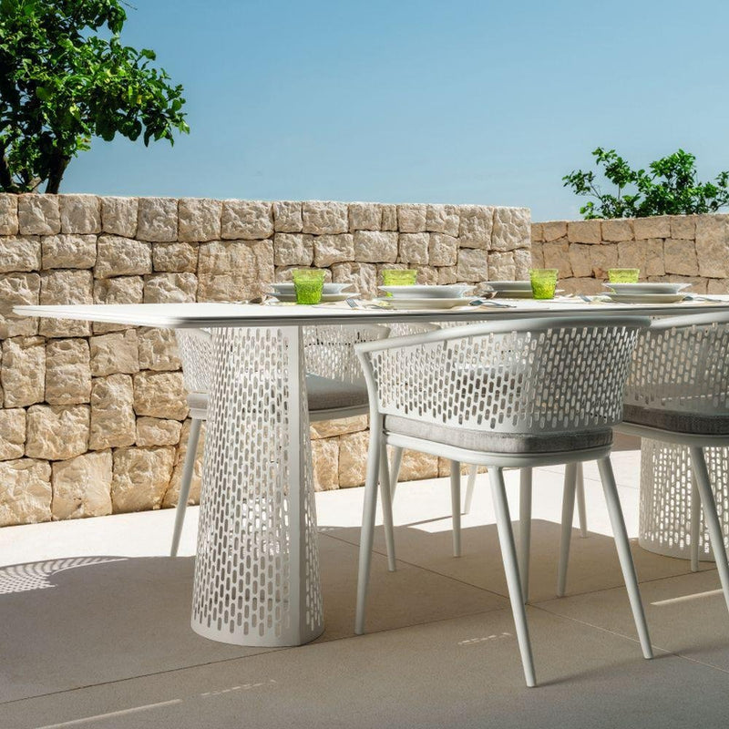 Simplistic Metal Dining Armchair | Luxury Outdoor Dining Chair | Luxury Furniture | High End Furniture | High End Dining Chair | Metal Cushioned Dining Chair