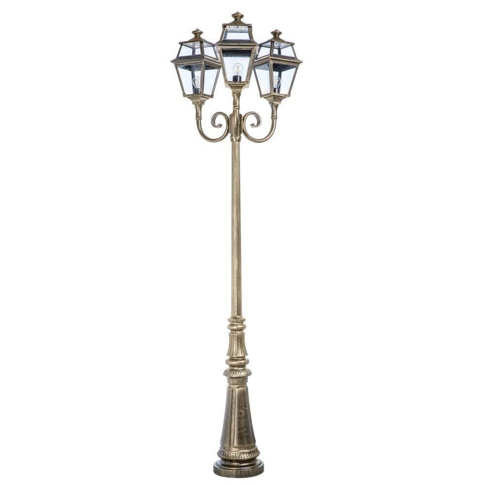Traditional Metal Tall Outdoor Floor Lamp | luxury French three headed garden floor lamp | lantern | brass aluminium | gold green white brown black
