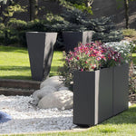 High End Modern Oblong Garden Planter | large exterior planters for sale | simple Spanish plant pots | stainless steel | corten