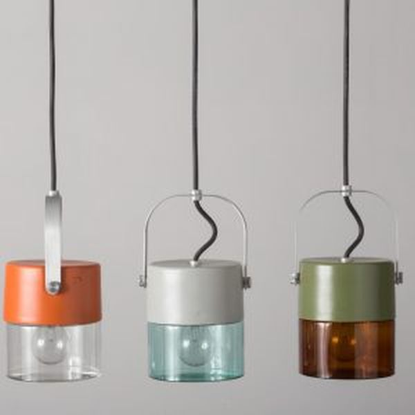 Coloured Urban Outdoor Lantern Pendant | metal outdoor suspended light | high end Italin lighting | white orange blue