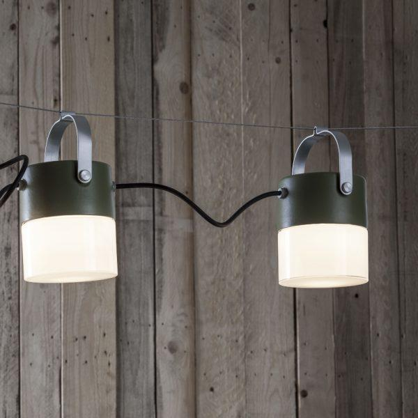 Modern Exterior Lantern String Light | modern metal string light | exterior wall socket | string light steel cable