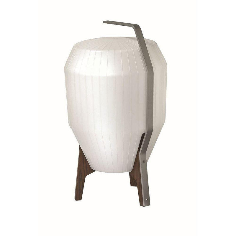 Mid Century White Outdoor Floor Light | Modern Exterior Lighting Made in France | Wooden Base