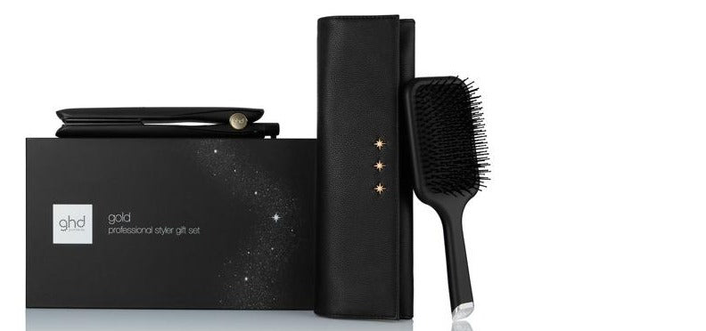 GHD Gold Professional Styler Gift Set with Paddle Brush & Heat Resistant Bag