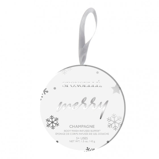 Spongelle Holiday Ornament - Merry - Champagne