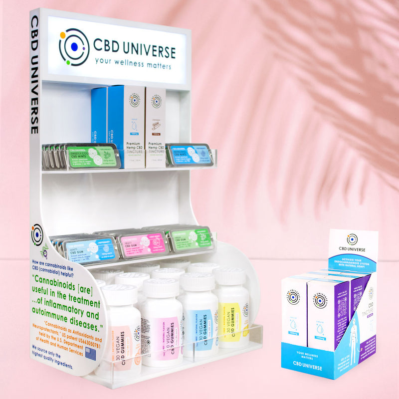 CBD Universe is a wholesale supplier of finished, shelf-ready products. CBD Universe products come in shelf-ready displays. We have a light-up acrylic fixture perfect for capturing your customers attention. Shop small, support small independent businesses