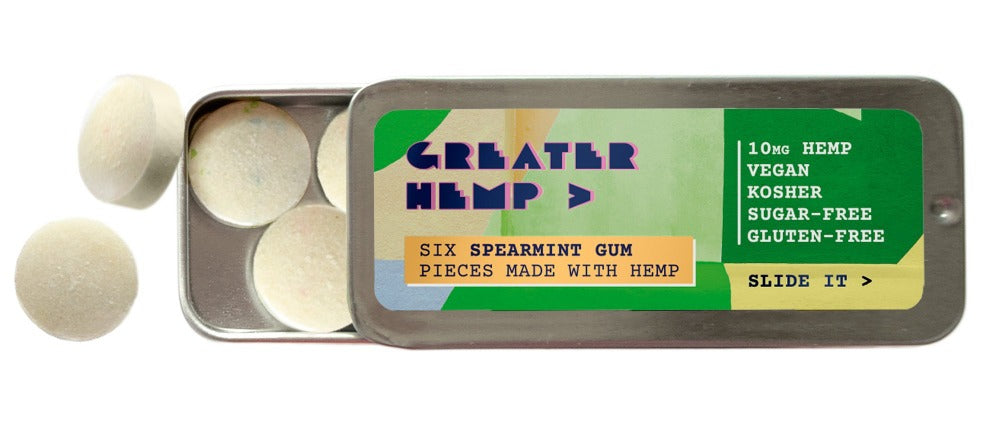Greater Hemp's 10mg spearmint gum is the easiest way to get your daily hemp extract on-the-go. The convenient tin fits perfectly in your pocket for the active lifestyle.