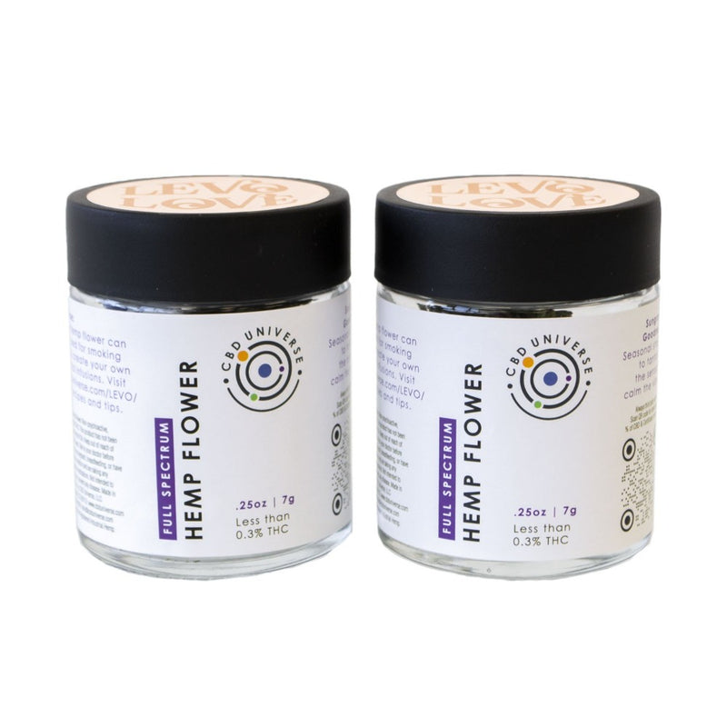 Two jars of LEVO CBD Hemp Flower to infuse your oil and butter. LEVO automates the traditional method of oil infusion that's usually messy and tedious, so that more of us can enjoy homemade wellness products and culinary creations.  From salves and soap to smoothie bowls and salad dressing, using LEVO is as easy as making coffee or tea.