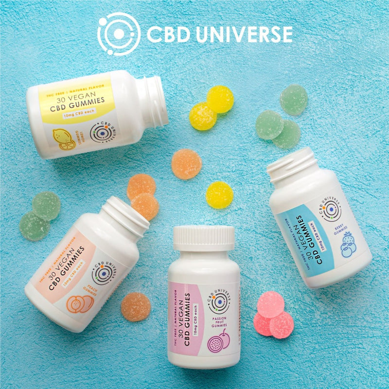 all natural fruit flavored CBD gummies from CBD Universe. Naturally colored and flavored with 10mg CBD Isolate in every piece.