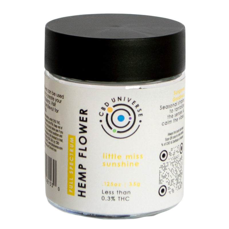 CBD Universe sells jars of hemp flower that you can use to roll your own hemp joints or infuse into cbd tinctures or cooking butters at home. Use a LEVO oil infuser to make your own edibles. Little miss sunshine industrial hemp contains less than 0.3% THC.