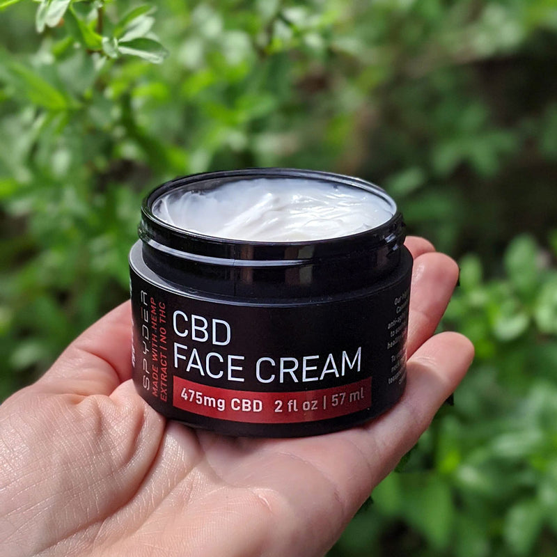 Spyder Face Cream with CBD. For men & women. Reduce redness and fine lines with our natural, soothing face cream.