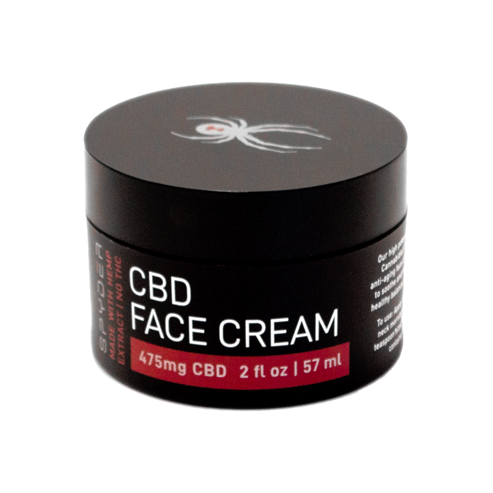 Spyder CBD Face Cream. A formulated blend of shea butter, apricot extract, coconut oil, and a blend of CBD to moisturize and help rejuvenate your skin. Looking for an end to dry, itchy skin? With 475mg pure CBD and all natural botanical extracts, Spyder Face Cream will solve the issue. Great for men & women and anyone looking for soft skin. Spyder Face Cream with CBD makes a great gift for friends & family, too!
