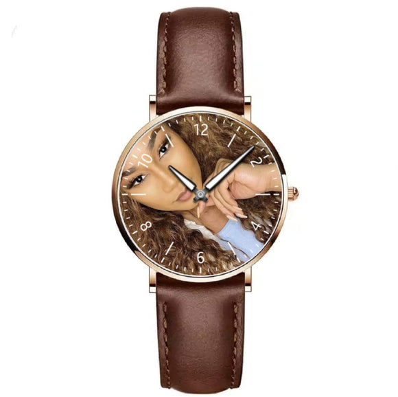 Montre dame cuir marron