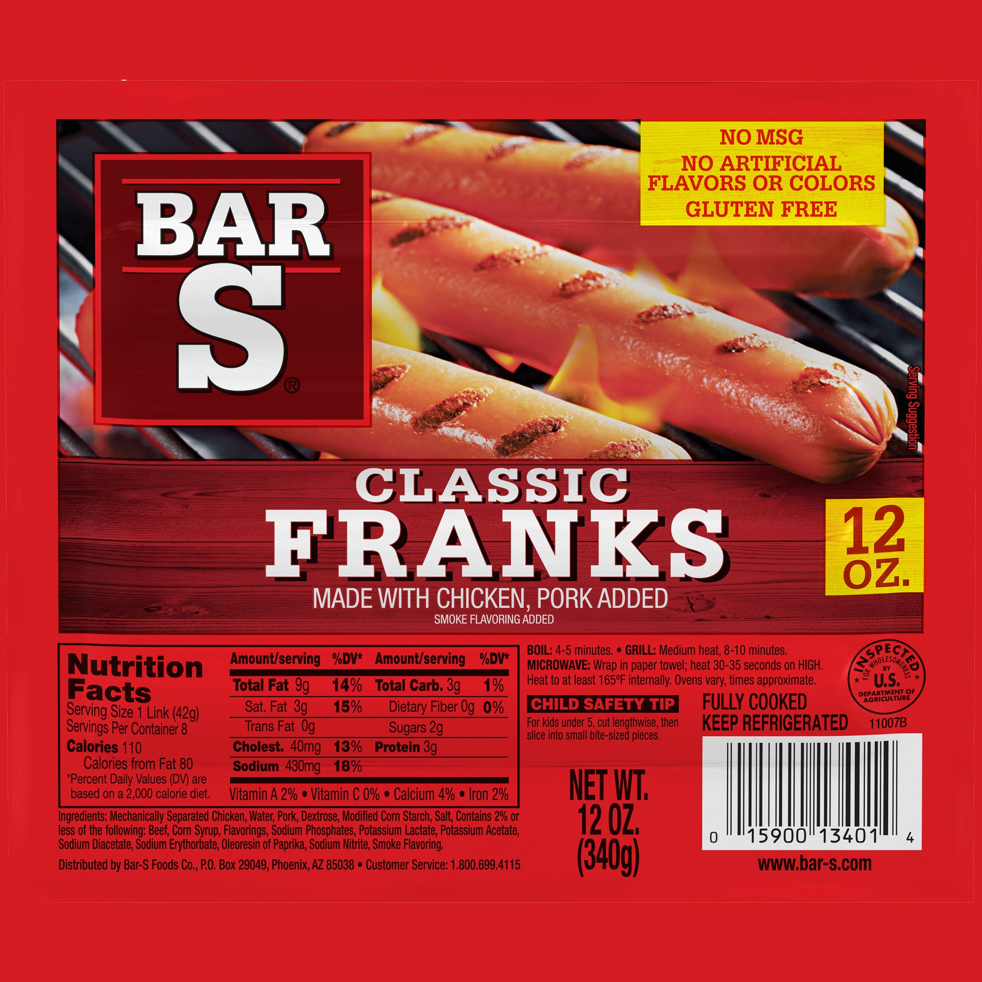 Bar S Classic Franks Hotdogs