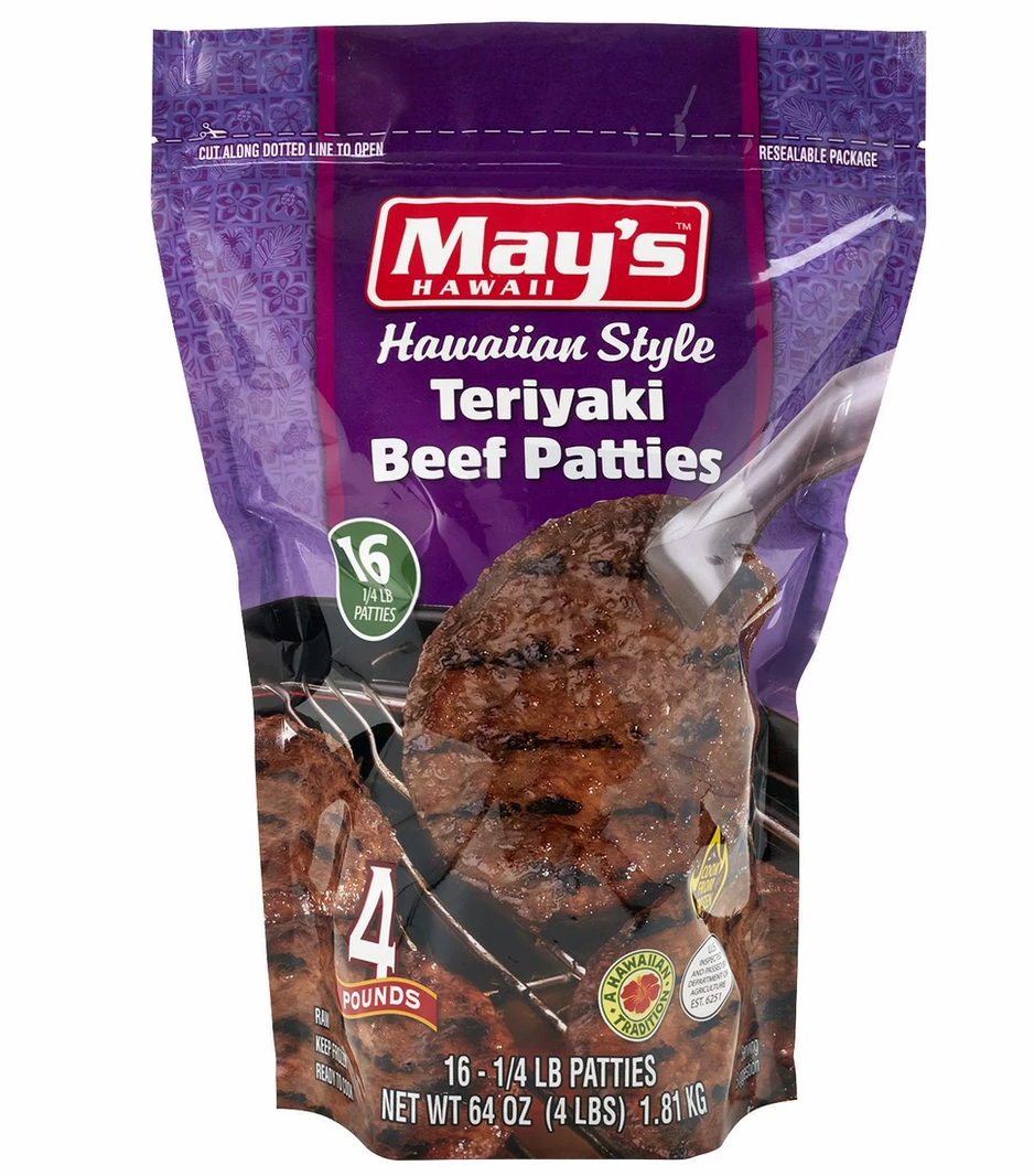May's Hawaiian Style Teriyaki Frozen Beef Patties Bag - 16ct/64oz