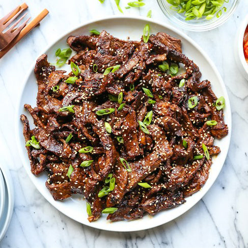 Marinated Beef Bulgogi with Sauce and Onions