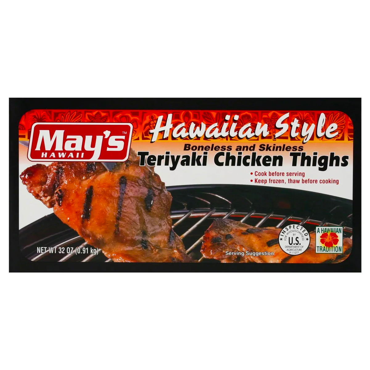 May's Hawaiian Style Boneless and Skinless Teriyaki Chicken Thighs (2lbs)
