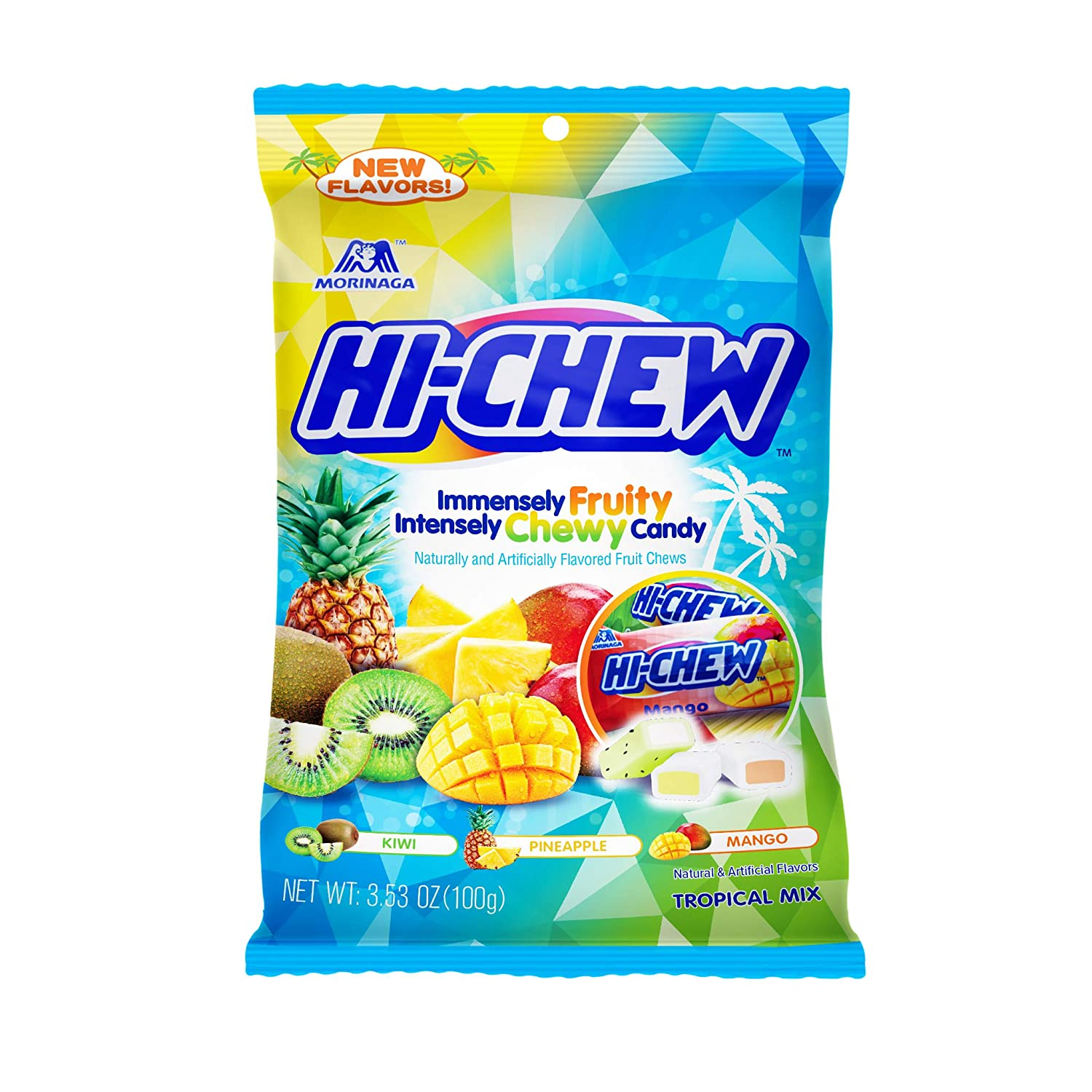 Hi-Chew Sensationally Chewy Japanese Fruit Candy, Tropical Mix, 3.53 Ounce