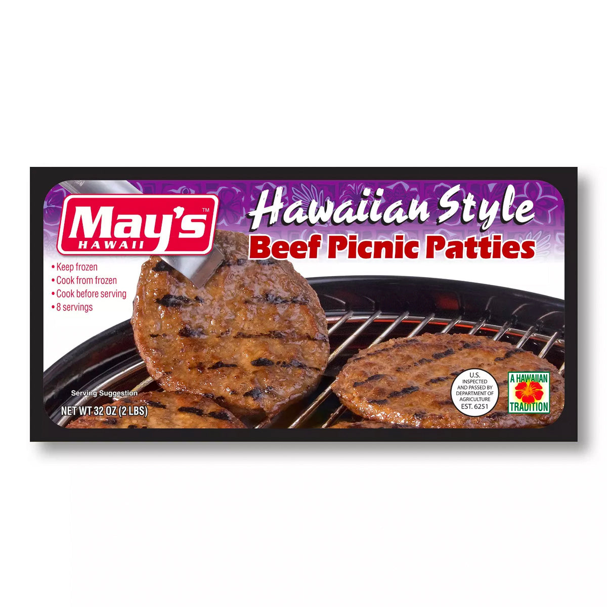 May's Hawaiian Style Picnic Beef Patties (2lbs)