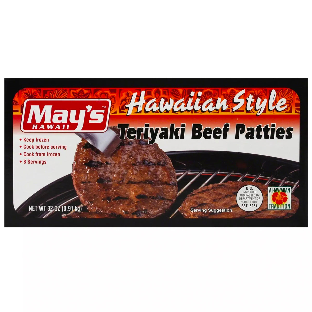 May's Hawaiian Style Teriyaki Frozen Beef Patties - 8ct/32oz