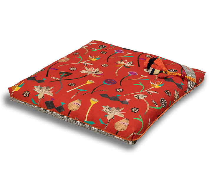 chattra kids Zabuton Meditation Cushion Coral Bean