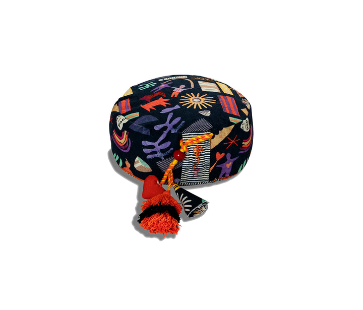 chattra kids Zafu Meditation Cushion in Midnight Village