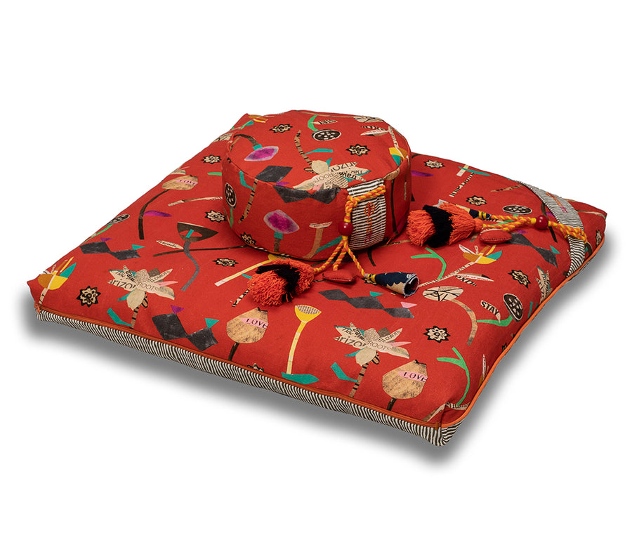 chattra kids Zafu Meditation Cushion Coral Bean