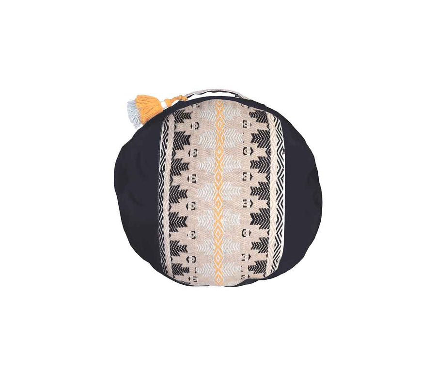Zafu Meditation Cushion Awamaki Oat on Black