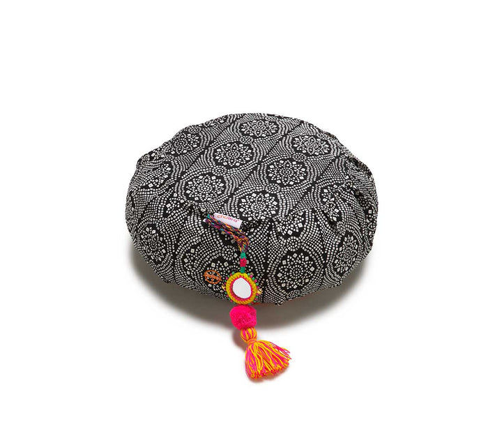 Black Bandhani Zafu Meditation Cushion