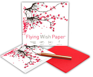 Flying Wish Paper -- Sakura (Cherry Blossum) design, 15 wish pack