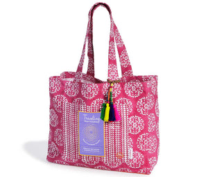 Traveling Heart Bag in Fuchsia Suzani, supports assault survivors