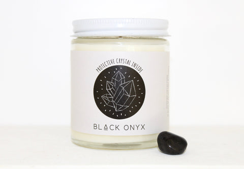 Soy Wax Candle -- Black Onyx with black sea scent