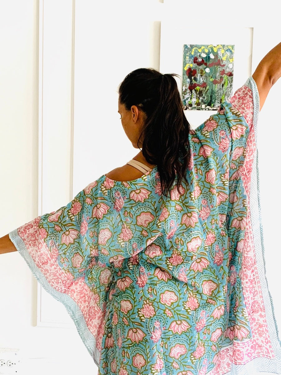 Under the Same Sky :: Giving Block Print Caftan, short length, pink lotus on aqua