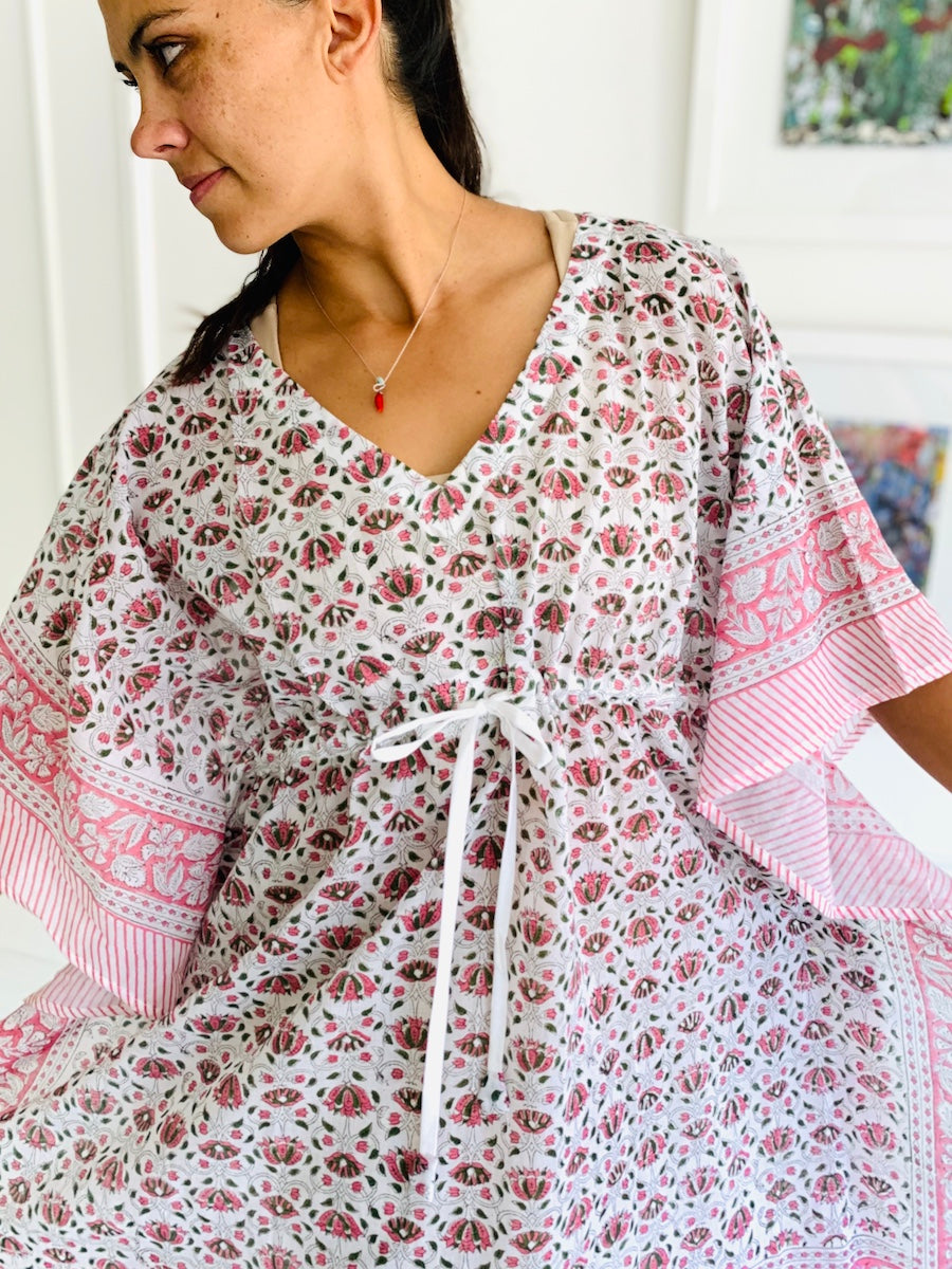 Under the Same Sky :: Giving Block Print Caftan, short length, pink green lotus on white
