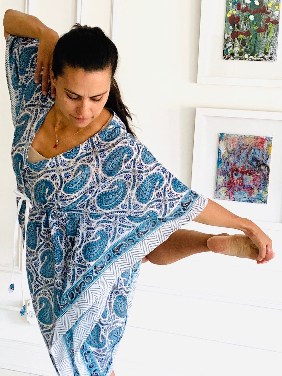 Under the Same Sky :: Giving Block Print Caftan, short length, blue paisley
