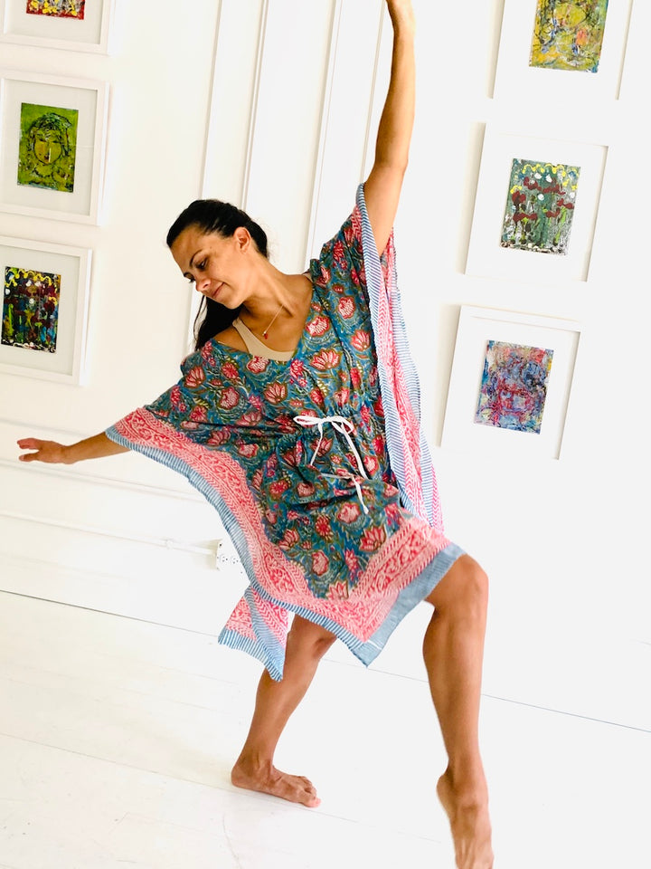 Under the Same Sky :: Giving Block Print Caftan, short, length, blush lotus on horizon blue