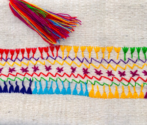 Chiapas Wool Shawl, ivory with rainbow embroidery/fringe