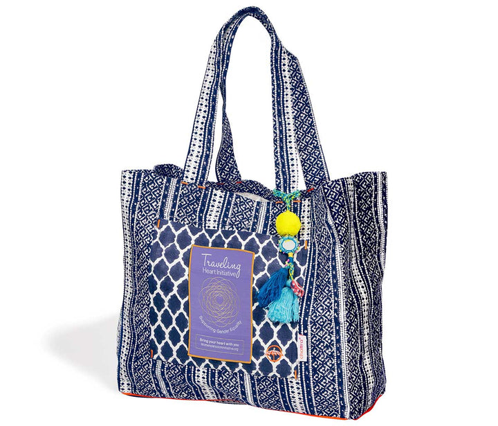 Traveling Heart Bag in Indigo Mehndi, supports assault survivors