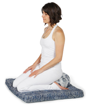Zabuton Meditation Cushion Navy Bandhani