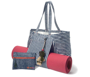 Mat Sleeve Tote Bag with Pouch Navy Kautuka