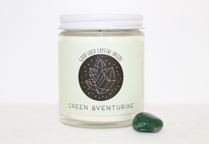 Soy Wax Candle -- Green Aventurine with salty sandalwood scent