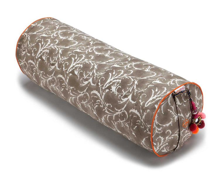 Round Yoga Bolster Taupe Feather