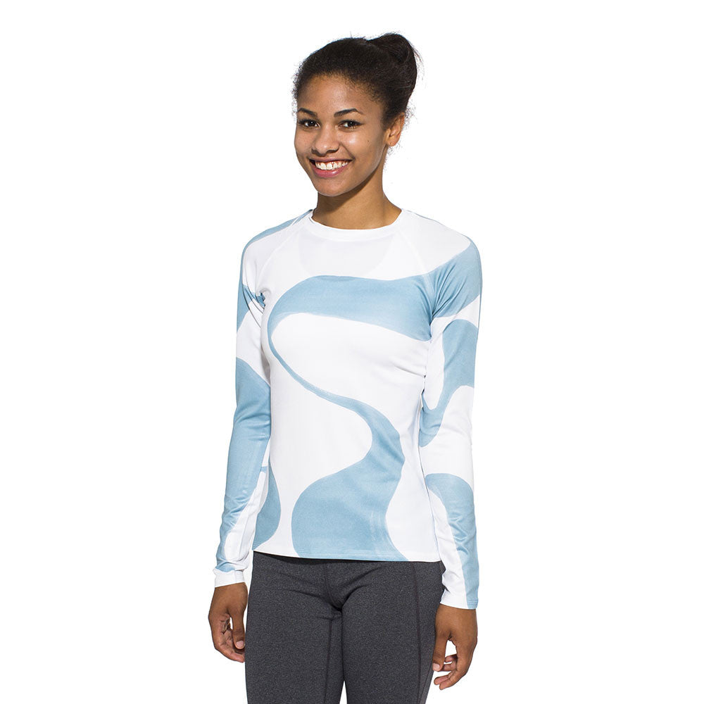 Women's UV Active Shirt, Ganges, blue on white