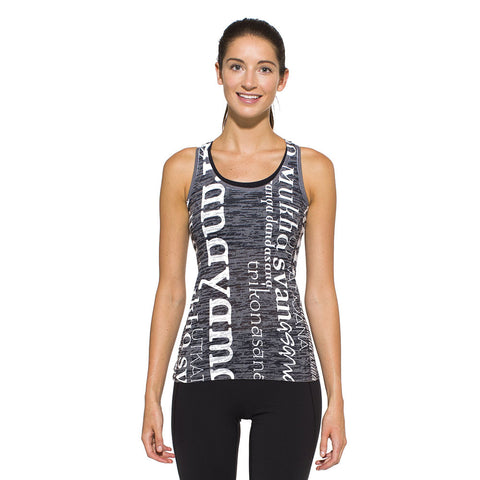 Women's Racer Back Tank, Asana, white on charcoal