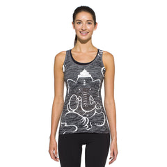 Women's Racer Back Tank, Ganesha, white on charcoal
